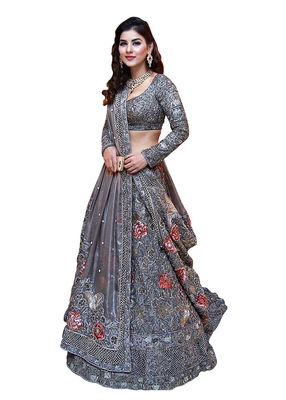 Grey thread embroidery net semi stitched lehenga