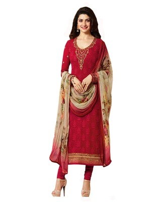 Red embroidered georgette salwar with duptta