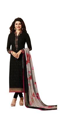 Black embroidered georgette semi stitched salwar with dupatta