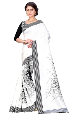 White printed bhagalpuri silk saree with blouse