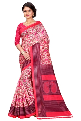 Pink printed bhagalpuri silk saree with blouse