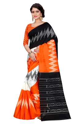 Orange printed bhagalpuri silk saree with blouse