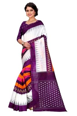 Multicolour printed bhagalpuri silk saree with blouse