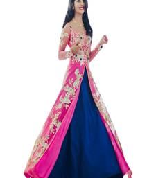 Buy Blue self design silk salwar anarkali-salwar-kameez online