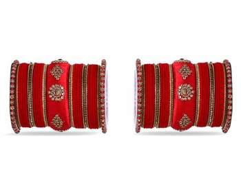 Royal Set Of 2 Velvet & Silk Thread Bangle Set By Leshya Red