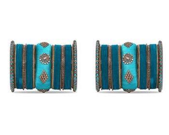 Royal Set Of 2 Velvet & Silk Thread Bangle Set By Leshya Rama Green