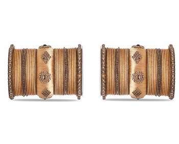 Royal Set Of 2 Velvet & Silk Thread Bangle Set By Leshya Golden