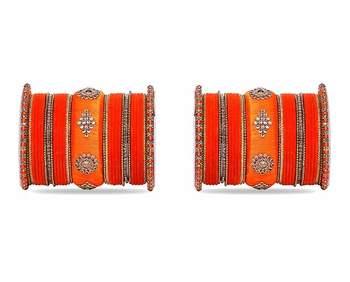 Royal Set Of 2 Velvet & Silk Thread Bangle Set By Leshya Orange