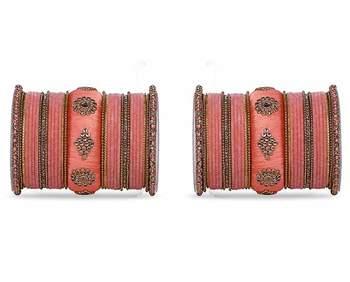 Royal Set Of 2 Velvet & Silk Thread Bangle Set By Leshya Peach
