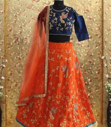 Orange color embroiderey work art silk fabric full stitched crop-top with blouse