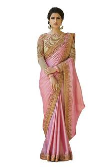 13d60219f63882 Pink embroidered chiffon saree with blouse. Shop Now