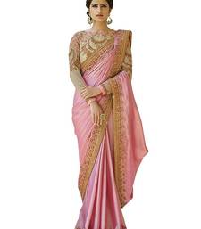 Buy Pink embroidered chiffon saree with blouse women-ethnic-wear online
