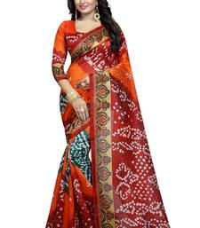 Buy Orange woven cotton saree with blouse cotton-saree online
