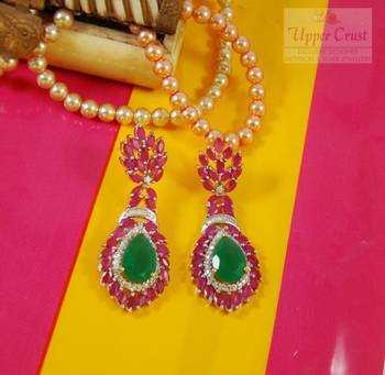 Royal Ruby Emerald Bold Statement CZ Earrings