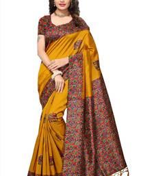 Buy Mustard printed tussar silk saree with blouse kalamkari-saree online