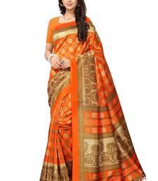 Orange printed tussar silk saree with blouse kalamkari-saree