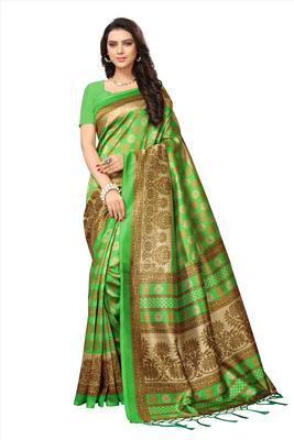 Green printed tussar silk saree with blouse