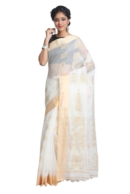 Multicolor Hand Woven Pure Bengal Handloom Saree With Blouse