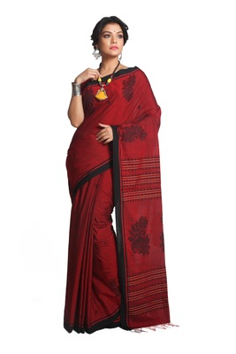 Multicolor Hand Woven Pure Khadi Saree With Blouse