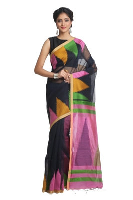 Multicolor hand woven pure linen saree with blouse