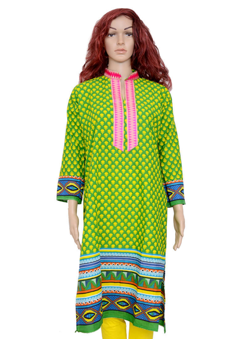 Stand Collar Kurta Designs : Buy green shiny neck with stand patti straight cut cotton