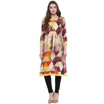 Multicolor printed crepe Women kurti