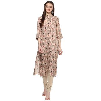 Printed rayon beige women straight kurti