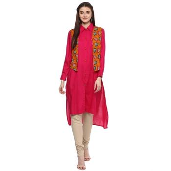 Pink plain rayon high low hem line kurti with jacket