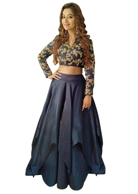 6bc677c42cc5b Navy Blue Taffeta Silk Party Wear Crop Top lehenga - Rozy Fashion - 2602621
