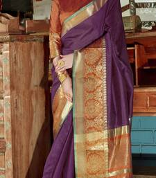 Purple woven silk saree with blouse great-indian-saree-festival