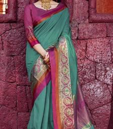 Sea green woven silk saree with blouse great-indian-saree-festival