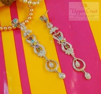 Bollywood Sleek Long Bridal CZ Multi Gemstones Earrings