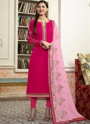 Rani pink embroidered georgette semi stitched salwar with dupatta