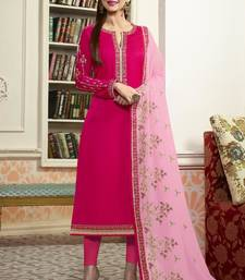 Buy Rani pink embroidered georgette semi stitched salwar with dupatta straight-suit online