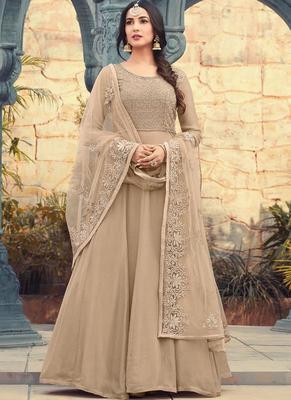 Beige Embroidered Georgette Semi Stitched Pakistani Salwar With Dupatta