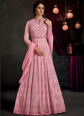 Light Pink Embroidered Georgette Anarkali Suit