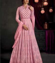 Light Pink Embroidered Georgette Anarkali Suit