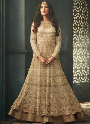 Off White Embroidered Net Semi Stitched Pakistani Salwar With Dupatta
