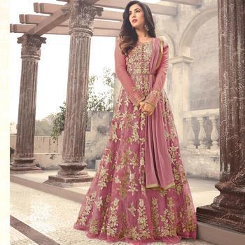 Dark pink embroidered net semi stitched pakistani salwar with dupatta