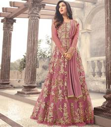 BLUSH PINK EMBROIDERED NET SEMI STITCHED ANARKALI WITH DUPATTA