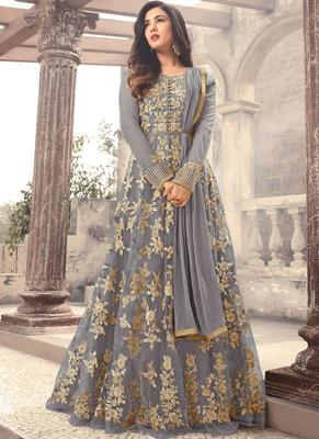 Grey embroidered net semi stitched pakistani salwar with dupatta