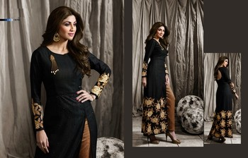 Black Embroidered Dupion unstitched salwar with dupatta