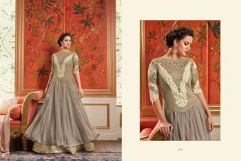 Grey Embroidered Georgette unstitched salwar with dupatta