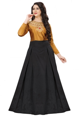 Musterd Embroidary Tapeta Silk semi stitched gown