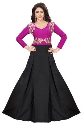Pink Embroidary Tapeta Silk semi stitched gown