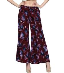 Buy Womens Brown Crepe Pleated Palazzos palazzo-pant online