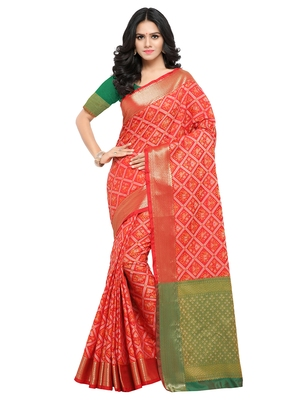 Red woven patola saree with blouse