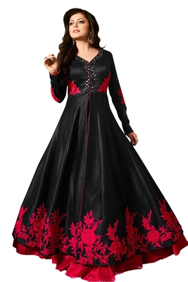 Black embroidered art silk salwar