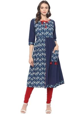 Blue printed cotton ethnic kurta