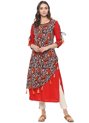 Red printed cotton ethnic kurta
